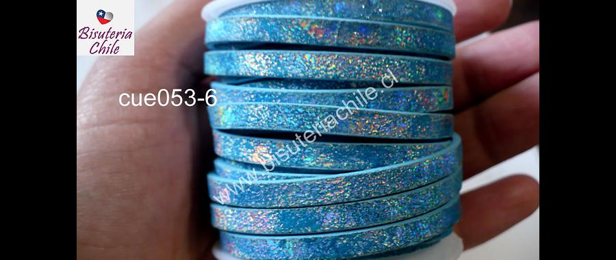 Cuero plano diseño en color celeste, tira de 5 mm de ancho y 1,2 metros de largo