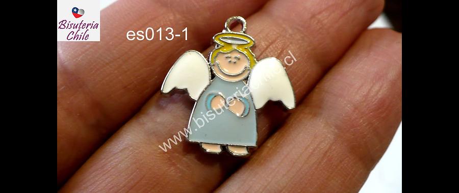 Dije esmaltado en forma de angel 22 mm de largo por 20 mm de ancho, por unidad