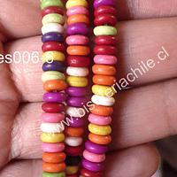 Perla de resina multicolor achatada, 6 mm, tira de 150 perlas aprox
