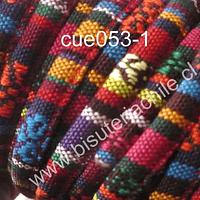 Cordón estilo étnico, en tonos rojos, naranjos y azules, 7 mm de ancho, tira de 1 metro