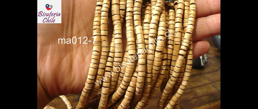 Cuenta madera de coco, tira de 5 mm, tira de 170 aprox
