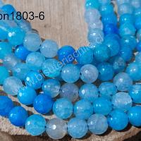 Agatas, Agata 8 mm, en tonos celestes, tira de 48 piedras