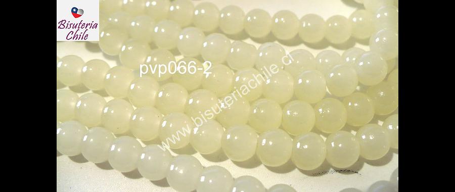 Perla de vidrio color blanco invierno, 6mm, tira de 140 unidades aprox