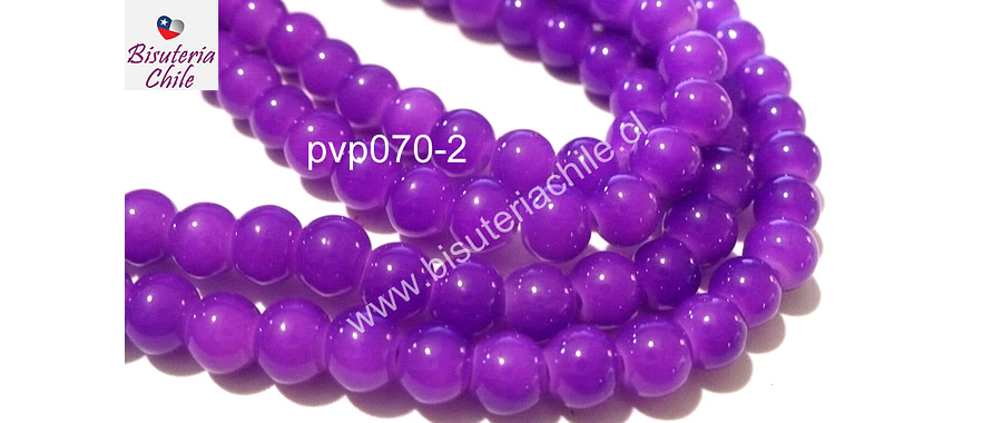 Perla de vidrio 6 mm en color lila, tira de 140 perlas