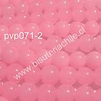 Perla de vidrio 6 mm rosado, tira de 140 piedras aprox