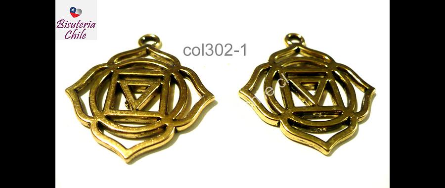 Colgante dorado estilo étnico 25 mm de diámetro, set de 2 unidades