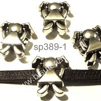 Separador plateado en forma de niña, 14 mm de ancho x 14 mm de largo, agujero de 5 mm, set de 4 undades