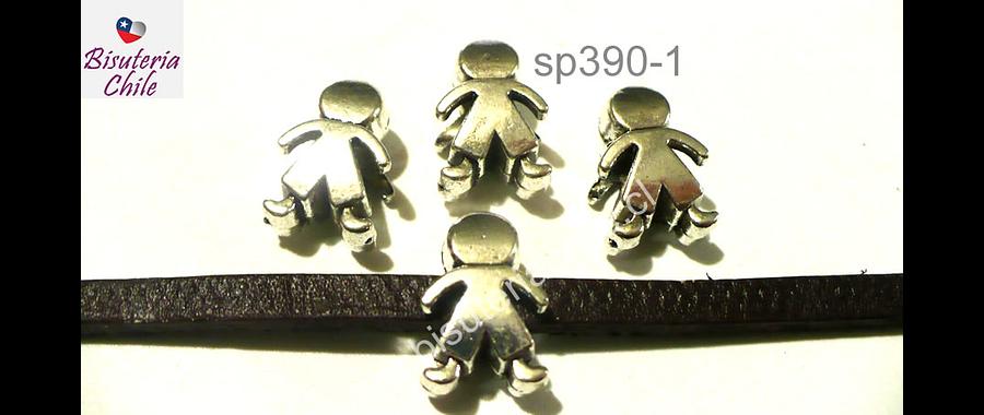 Separador plateado en forma de niño, 10 mm de ancho x 14 mm de largo, agujero de 5 mm, set de 4 undades
