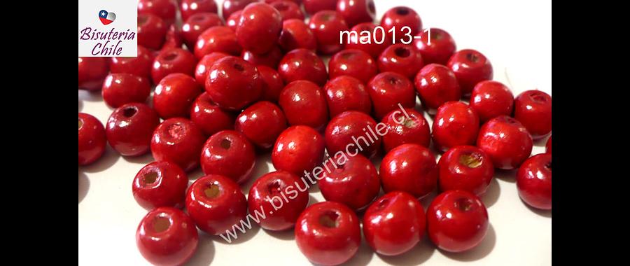 Cuenta de madera color rojo 8 mm, bolsa de 25 grs. , 150 cuentas aprox.