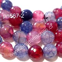 Agata 8 mm, en tonos celestes, lilas y rosados, tira de aprox 48 piedras