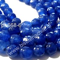 Agata 6 mm en tonos azul, tira de 60 piedras aprox