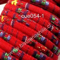 Cordón estilo étnico, en tonos rojo, azules y amarillos, 7 mm de ancho, tira de 1 metro