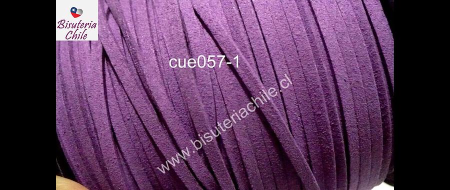 Gamuza color lila de 3 mm de ancho y 2 mm de espesor, por metro