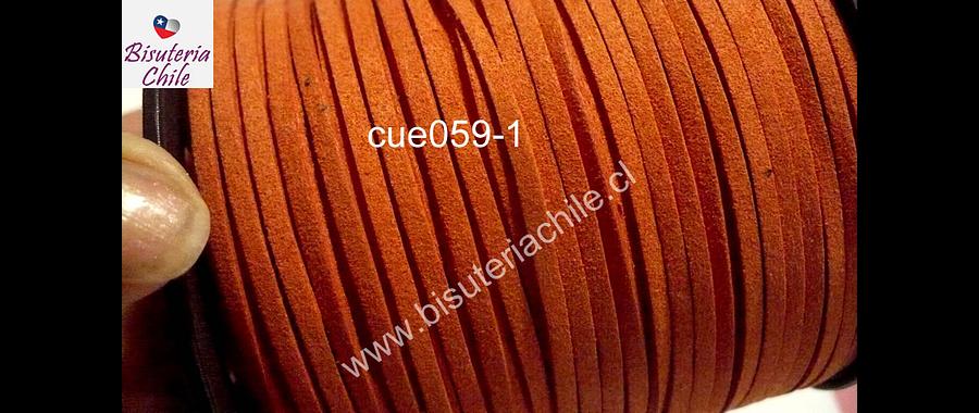 Gamuza color naranjo de 3 mm de ancho y 2 mm de espesor, por metro