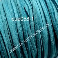 Gamuza color celeste de 3 mm de ancho y 2 mm de espesor, por metro