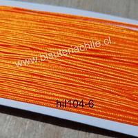 Cordón Soutache color naranjo, 3 mm, rollo de 30 mts.