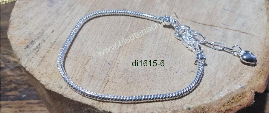 Pulsera, cadena tipo serpiente, especial para Pandora, cadena de 3 mm de grosor 19 cm de largo, más extensión de cadena ajustable