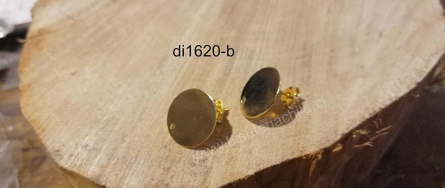 Base de aro baño de oro, 15 mm, por par