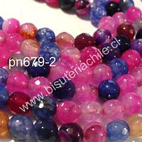 Agata de 6 mm en tonos rosados, fucsias y azules, tira de 64 piedras