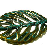 Colgante en forma de hoja envejecida con tonos turquesa, 45 mm de largo por 28 mm de ancho, por unidad