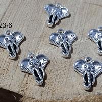 Dije plateado en forma de elefante, 17 x 15 mm, set de 6 unidades