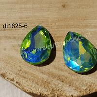 Cristal Soutache grande verde tornasol, 29 x 20 mm, por par