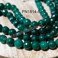 Agata facetada de 8 mm, en color verde, tira de 46 piedras aprox.