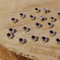 Separador plateado, 6 x 4 mm, agujero de 3 mm, set de 20 aprox.