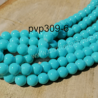 Perla de vidrio pintado 8 mm color turquesa tira de 54 unidades
