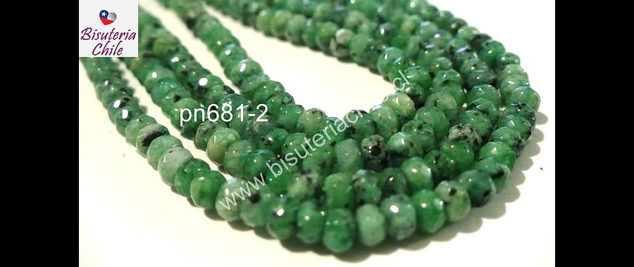 Agata 4 mm achatada, color verde jaspeada, tira de 130 piedras aprox