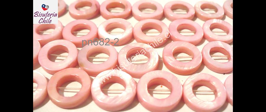 Nacar rosado, 15 mm de diámetro, tira de 26 piedras aprox
