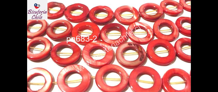 Nacar rojo, 15 mm de diámetro, tira de 26 piedras aprox