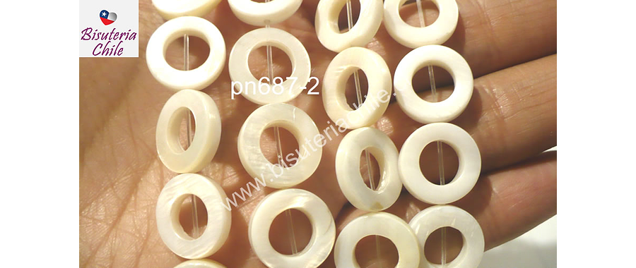 Nacar blanco, 15 mm de diámetro, tira de 26 piedras aprox