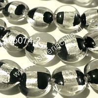 Vidrio Hindu negro y gris, de 15 mm de diámetro, tira de cuentas