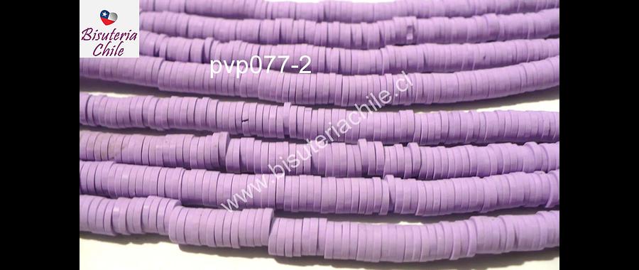 Tira de cuentas de goma, en color lila, 4 mm de diámetro, tira de 40 cm de largo aprox