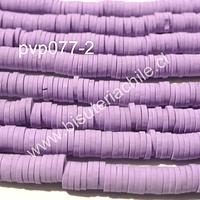 Fimo Tira de cuentas de goma, en color lila, 4 mm de diámetro, tira de 40 cm de largo aprox