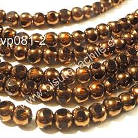 Perla de cobre con aplicaciones de vidrio , 6 mm de diámetro, tira de 52 perlas aprox.