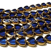 Vidrio en color azul con aplicaciones de cobre en forma de cobre, 10 mm de diámetro por 10 mm de ancho, tira de 30 perlas aprox.