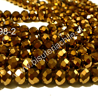 Cristal chino facetado dorado, 8 mm de diámetro por 6 mm de largo set de 70 unidades -