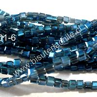 Cristal chino facetado azul cuadrado, 2 mm, tira de 200 cristales aprox.