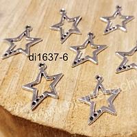Dije plateado en forma de estrella, 24 x 17 mm, set de 7 unidades