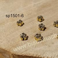 Separador dorado, 7 x 4 mm, agujero de 1,8 mm, set de 7 unidades