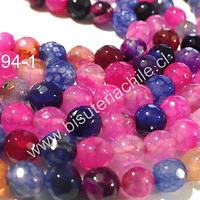 Agata de 10 mm en tonos rosados, fucsias y azules, tira de 38 piedras aprox.