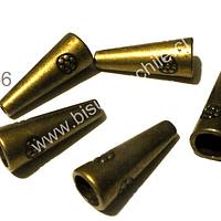 Separador y casquete envejecido con diseño, 20 mm de largo, 8 mm de ancho, agujero de 6 mm, set de 5 unidades