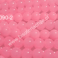 Perla de vidrio rosado transparente, 8 mm, tira de 110 unidades
