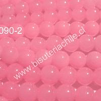 Perla de vidrio rosado transparente, 8 mm, tira de 53 unidades