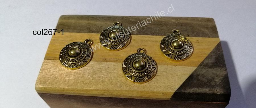 Dije dorado con diseño, 18 mm de diámetro, set de 4 unidades