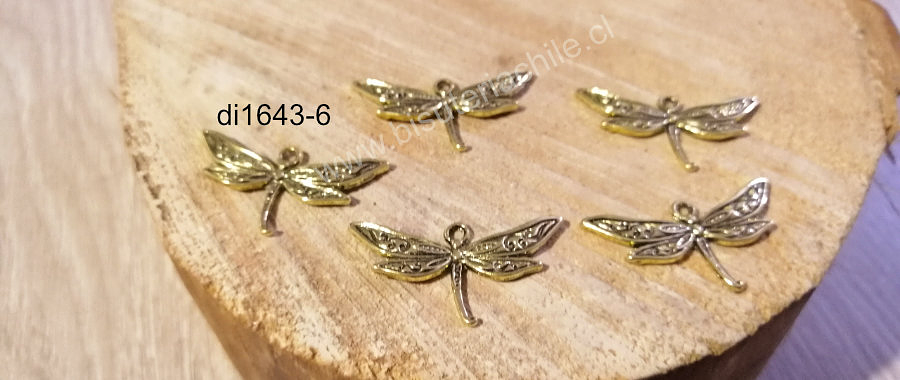 Dije dorado en forma de libélula, 20 x 30 mm, set de 5 unidades