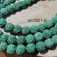 Piedra volcanica de 8 mm, en tono verde, tira de 48 piedras aprox.