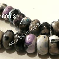 Agata serpentina rondell, 10 mm de díametro por 5 mm de ancho, tira de 32 piedras